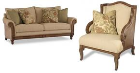 1125 2-Piece Living Room Set with Windward Dart Honey Sofa and Club Chair in Dart Honey