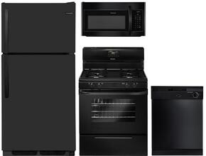 "4-Piece Black Builder Package with FFTR1514TB 28"" Top Freezer Refrigerator, FFGF3015LB 30"" Freestanding Gas Range, FBD2400KB 24"" Built In Dishwasher and FFMV1645TB 30"" over the Range Microwave Oven"