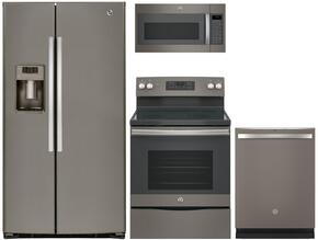 "4-Piece Slate Kitchen Package  with GSE25HMHES 36""  Freestanding Side by Side Refrigerator, JB645EKES 30"" Electric Freestanding Range, JVM7195EKES 30"" Over The Range Microwave Oven and GDT655SMJES 24"" Built In Dishwasher"
