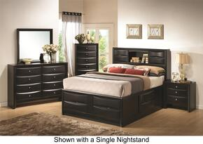 Briana 202701QDM2NC 6-Piece Bedroom Set with Queen Bookcase Bed, Dresser, Mirror, 2 Nightstands and Chest in Black