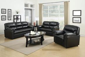 G263SET 3 PC Living Room Set with Sofa + Loveseat + Armchair in Black Color