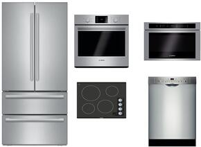 "5 Piece Stainless Steel Kitchen Package with B21CL81SNS 36"" French Door Refrigerator, NEM5466UC 24"" Electric Smooth Cooktop, HBL5351UC 30"" Single Wall Oven, HMD8451UC 24"" Drawer Microwave and SHS863WD5N 24"" Full Console Dishwasher"