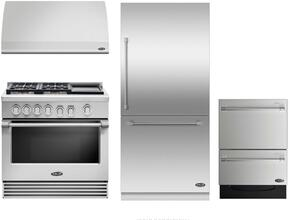 "4 Piece Kitchen Package With RGV2364GDN 36"" Gas Freestanding Range, DCS VS36 36"" Wall Mount Hood, RS36W80RJC1 36"" Built In Bottom Freezer Refrigerator and two DD24SV2T7 24"" Dishwasher Drawers in Stainless Steel"
