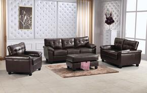 G905ASET 4 PC Living Room Set with Sofa + Loveseat + Armchair + Ottoman in Cappuccino Color