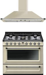 "2-Piece Cream Kitchen Package with TRU36GGP 36"" Freestanding Gas Range and KTU36P 36"" Wall Mount Hood"