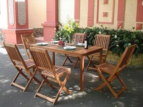 V98SET4 Outdoor Wood Balthazar Rectangular Table and 6 Outdoor Folding Bistro Chairs