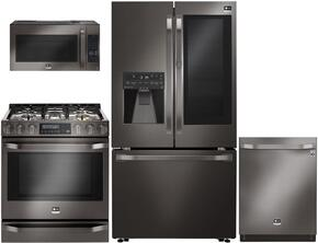 "5-Piece Black Stainless Steel Kitchen Package with LSFXC2496D 36"" French Door Refrigerator, LSSE3029BD 30"" Slide-In Electric Range, LSMC3089BD 30"" Over-The-Range Microwave, LSDF9969BD 24"" Dishwasher and LSWS309BD 30"" Single Wall O"
