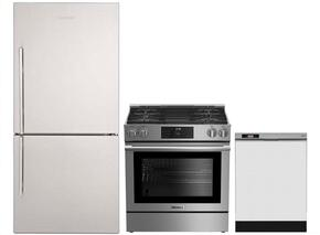 "3-Piece Kitchen Package with BRFB1812SSN 30"" Bottom Freezer Refrigerator, BGR30420SS 30"" Slide-in Gas Range, and a free DWT25200SSWS 24"" Built In Fully Integrated Dishwasher in Stainless Steel"