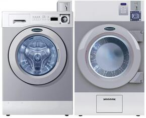 """Grey Front Load Coin Operated Laundry Pair with WHWF09810M 27"""" Washer and DAWF0GM 28"""" Gas Dryer"""
