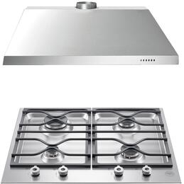 "2-Piece Stainless Steel Kitchen Package with PM24400XLP 24""  Liquid Propane Cooktop and KU24PRO1X14 24"" Canopy Hood"