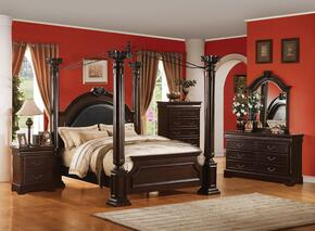 Roman Empire II 21334EK5PC Bedroom Set with Eastern King Size Bed + Dresser + Mirror + Chest + Nightstand in Cherry Finish
