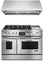 """2-Piece Kitchen Package with JGRP548WP 48"""" Freestanding Gas Range and JXW9048WP 48"""" Wall Mount Ducted Hood, in Stainless Steel"""