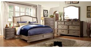 Belgrade II Collection CM7612KBDMCN 5-Piece Bedroom Set with King Bed, Dresser, Mirror, Chest, and Nightstand in Rustic Natural Tone Finish