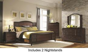 203301Q6PC Salisbury Queen Size Panel Bed with Two Nightstands, Chest, Dresser and Mirror in Cherry Finish