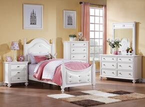 Athena 30205F5PC Bedroom Set with Full Size Poster Bed + Dresser + Mirror + Chest + Nightstand in White Color