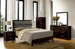 Janine Collection CM7868QBEDSET 5 PC Bedroom Set with Queen Size Panel Bed + Dresser + Mirror + Chest + Nightstand in Espresso Finish