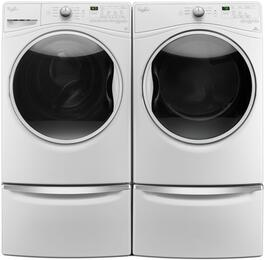 "Washer and Dryer Package with WFW85HEFW 27"" Front Load Washer, WGD85HEFW 27"" Gas Dryer and 2 XHPC155XW Pedestal, in White"