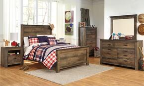 Trinell Full Bedroom Set with Panel Bed, Dresser, Mirror, Nightstand and Chest in Brown