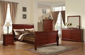 19517EKDMCN Louis Philippe III Eastern King Sleigh Bed + Dresser + Mirror + Chest + Nightstand in Cherry