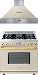"""Deco 2-Piece Cream with Gold Accent Kitchen Package with RD361GCCG 36"""" Freestanding Gas Range and HD361ACCG 36"""" Wall Mount Range Hood"""