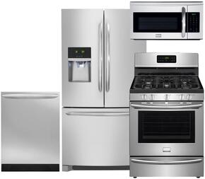 "Gallery 4-Piece Smudge-Proof Stainless Steel Kitchen Package with FGHF2366PF 36"" Freestanding French-Door Refrigerator, FGGF3035RF 30"" Freestanding Gas Range, FGID2466QF 24"" Fully Integrated Dishwasher and FGMV175QF 30"" Over-the-Range"