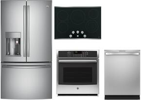 "4-Piece Stainless Steel Kitchen Package  with PFE28PSKSS 36"" French Door Refrigerator, PP7030SJSS 30"" Electric Cooktop, PK7000SFSS 27"" Electric Single Wall Oven and PDT855SSJSS 24"" Built In Dishwasher"