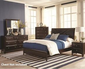 Rossville Collection 204381Q4PC 4-Piece Bedroom Set with Queen Bed, Night Stand, Dresser and Mirror in Medium Cappuccino Finish