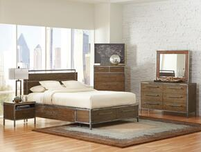 Arcadia 203801KEDMCN 5 PC Bedroom Set with Eastern King Size Bed + Dresser + Mirror + Chest + Nightstand in Weathered Acacia Finish
