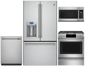 "4-Piece Stainless Steel Kitchen Package with CFE28USHSS 36"" French Door Refrigerator, C2S995SELSS 30"" Slide In Dual Fuel Range, CVM1750SHSS 30"" Over the Range, and CDT835SSJSS 24"" Fully Integrated Dishwasher"