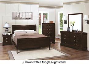 Louis Philippe 202411FDM2NC 6-Piece Bedroom Set with Full Sleigh Bed, Dresser, Mirror, 2 Nightstands and Chest in Cappuccino Finish