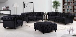 Chesterfield 662BL-S-L-C 3 Piece Living Room Set with Sofa + Loveseat and Chair in Black