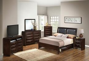 G1525DDKSB2DMNCHTV2 6 Piece Set including  King Size Bed, Dresser, Mirror, Nightstand, Chest and Media Chest  in Cappuccino