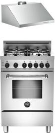 "Bertazzoni Stainless Steel 2-Piece Kitchen Package With MAS244GASXELP 24"" Gas Freestanding Range with 4 Burners and KU24PRO1X 24"" Professional Undermount Canpoy Hood For 50% Off"