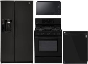 """4-Piece Kitchen Package with LSXS26326B 33"""" Side by Side Refrigerator, LRG3193SB 30"""" Freestanding Gas Range, LMC1575SB 22"""" Countertop Microwave, and LDP6797BB 24"""" Built In Fully Integrated Dishwasher in Black"""