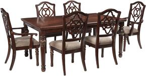 Asha Collection 7-Piece Dining Room Set with Dining Room Table, 4 Side Chairs and 2 Arm Chairs in Reddish Brown
