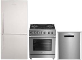 "3-Piece Kitchen Package with BRFB1822SSN 30"" Bottom Freezer Refrigerator, BDFP34550SS 30"" Freestanding Dual Fuel Range, and DWT58500SS 24"" Built In Fully Integrated Dishwasher in Stainless Steel"