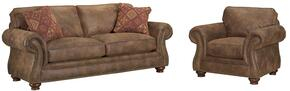 Laramie 5081QASC/7591-85/5763-85 2-Piece Living Room Set with Queen Air Dream Sofa Sleeper and Chair in 7591-85 Brown with 5763-85 Pillows