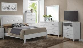 G1275ATBDMTV 4 Piece Set including Twin Size Bed, Dresser, Mirror and Media Chest  in White