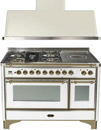 "2-Piece True White Kitchen Package with UM120SDMPBY 48"" Freestanding Dual Fuel Range (Oiled Bronze Trim, 5 Burners, French Cooktop) and UAM120B 48"" Wall Mount Range Hood"