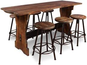 Cabo Collection HH-8014-7PC 7 Piece Counter Height Pub Table Set with Rectangular Table + 6 Bar Stools