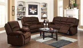 Bailey 51030SLR 3 PC Living Room Set with Sofa + Loveseat + Recliner in Chocolate Velvet Color