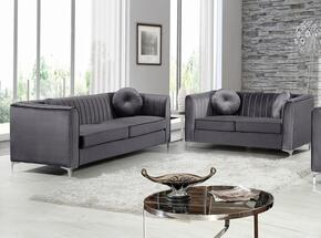 Isabelle Collection 6122PCSTLKIT2 2-Piece Living Room Sets with Stationary Sofa, and Loveseat in Grey