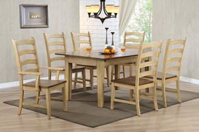 Brook Collection DLU-BR-TL-134-PW-T 7 PC Dining Room Set with Dining Table + 6 Side Chairs