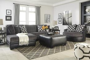 Kumasi 32202LSSOSAC 3-Piece Living Room Set with Left Arm Facing Chaise Sectional, Oversized Ottoman and Swivel Chair in Black