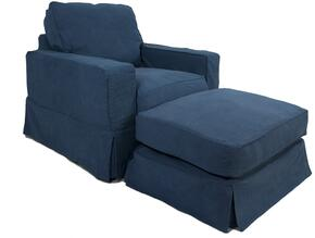 Americana Collection SU-108520-30-410046 Slipcovered Chair and Ottoman in Indigo Blue