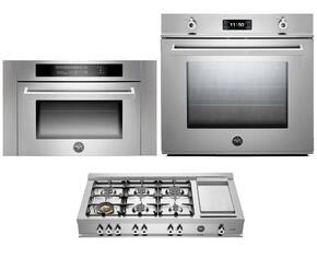 "Professional F30PROXT 30"" Single Electric Wall Oven 3 Piece Stainless Steel Kitchen Package with CB36600X 36"" Gas Rangetop and SO24PROX Built In Microwave"