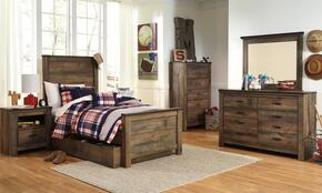 Trinell Twin Bedroom Set with Panel Bed with Trundle, Dresser, Mirror, Nightstand and Chest in Brown