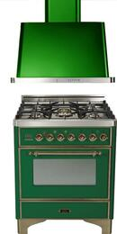 "2-Piece Emerald Green Kitchen Package with UM76DVGGVSY 30"" Freestanding Gas Range (Oiled Bronze Trim, 5 Burners, Timer) and UAM76VS 30"" Wall Mount Range Hood"