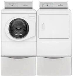 "White Front Load Laundry Pair with AFNE9RSP 27"" Front Load Washer, ADGE9RGS 27"" Gas Dryer and 2 PDR108W Pedestals"