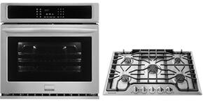 "2-Piece Kitchen Package with FGEW3065PF 30"" Electric Single Wall Oven and FGGC3047QS 30"" Gas Cooktop in Stainless Steel"
